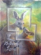 Kangaroo Paintings - Mothers love by Jitender Singh