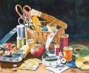 Thread Paintings - Mothers Sewing Basket by Susan Moyer