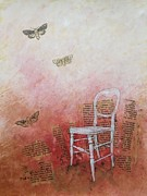 Chair Mixed Media Framed Prints - Moths Framed Print by Paul OBrien
