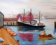 Transportation Drawings Originals - Motif and Boats by Bill Hubbard