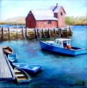 Massachusetts Pastels Posters - Motif One Rockport Harbor Poster by Jack Skinner