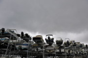 Boathouse Row Photos - Motor Boats on racks by Sami Sarkis