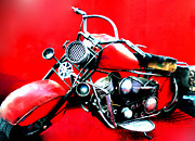 Acrylicprint Posters - Motor cycle getting  ready for departure Poster by Colette V Hera  Guggenheim