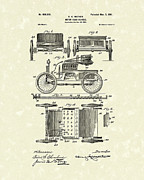 Vehicle Drawings Posters - Motor Vehicle 1901 Patent Art Poster by Prior Art Design