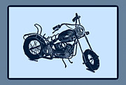Blue Art Pyrography Prints - MotorBike 1a Print by Mauro Celotti