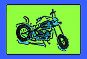 Blue Art Pyrography Prints - MotorBike 1c Print by Mauro Celotti