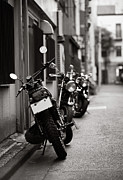 Black And White Photography Photos - Motorbikes Parked On Street In Tokyo, Japan by photo by Jason Weddington