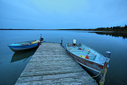Motor Art - Motorboats at dock at Mustus Lake in Meadow Lake Park by Mark Duffy