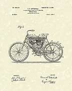 1901 Drawings Prints - Motorcycle 1901 Patent Art Print by Prior Art Design