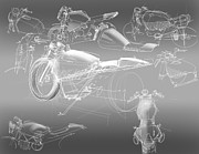 Old Car Drawings Prints - Motorcycle Concept Sketches Print by Jeremy Lacy
