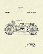 Bike Drawings - Motorcycle Design 1919 Patent Art by Prior Art Design