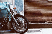 Garage Prints - Motorcycle Parked Rusty Garage Door Print by Gil Guelfucci