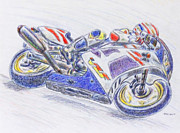 Racer Drawings Posters - Motorcycle Racer Poster by Jerry Killian