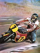 Crowds Paintings - Motorcycle racing by Graham Coton