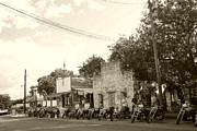 Motorcycle Cowboy Art - Motorcycles in Bandera by Nina Fosdick