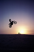 Motorcyclist In Mid-air Jump Print by James Porto