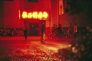 Neon Effects Prints - Motorcyclists Outside A Karaoke Bar Print by Justin Guariglia