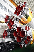 Rocket Framed Prints - Motors Of A Soyuz Rocket Framed Print by Ria Novosti