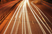 Rush Hour Framed Prints - Motorway Light Trails Framed Print by Richard Newstead