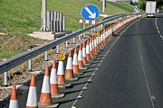 Traffic Control Photo Prints - Motorway Traffic Cones Print by Linda Wright