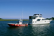 Towboat Framed Prints - Motoryacht Being Towed Framed Print by Sally Weigand