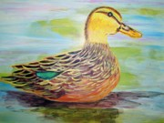 Belinda Lawson Metal Prints - Mottled Duck Metal Print by Belinda Lawson