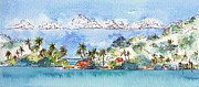 Watercolour Paintings - Motu Toopua Bora Bora by Pat Katz