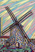 Suburbs Pastels Prints - Moulin de Chantecoq Print by Robert  SORENSEN