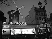Noir Digital Art - Moulin Rouge in Black and White by Jennifer Holcombe