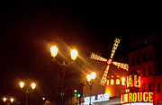 France Mixed Media Originals - Moulin Rouge Paris at night by Zbigniew Rusin