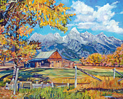 Jackson Painting Originals - Moultons Barn Grand Tetons by David Lloyd Glover