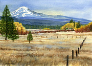 Fall Grass Framed Prints - Mount Adams  Framed Print by Sharon Freeman