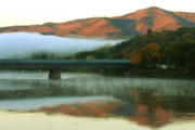 New Hampshire Photos - Mount Ascutney and Windsor Cornish Bridge Sunrise Fog by John Burk