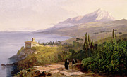 Built Painting Prints - Mount Athos and the Monastery of Stavroniketes Print by Edward Lear