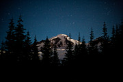Mount Baker Posters - Mount Baker Starry Night Poster by Mike Reid