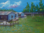 Florida Waterscape Originals - Mount Dora Boat House by Adriane Pirro