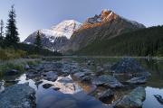 Snow-covered Landscape Prints - Mount Edith Cavell, Cavell Lake, Jasper Print by Philippe Widling