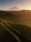 Lush Art - Mount Egmont With Hilly Countryside In Vertical by Coolbiere Photograph