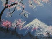 Tree Blossoms Paintings - Mount Fuji by Adriana Guidi