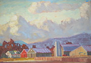 Farm Buildings Painting Originals - Mount Greylock and the Jayko Farm by Len Stomski