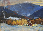 Lit Painting Originals - Mount Greylock From Williamstown by Len Stomski