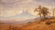 Stag Metal Prints - Mount Hood Metal Print by Albert Bierstadt