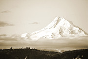 Autumn Poster Framed Prints - Mount Hood Snow Framed Print by Andrea Hazel Ihlefeld