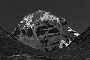 Moonlit Night Framed Prints - Mount Kailash in Moonlight Framed Print by Hitendra SINKAR