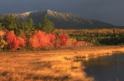 Baxter Posters - Mount Katahdin Snow Foliage Poster by John Burk