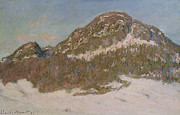 Snowfall Paintings - Mount Kolsaas in Sunlight by Claude Monet