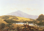 Lake Scene Paintings - Mount Mansfield by Jerome Thompson