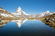 Matterhorn Prints - Mount Matterhorn, Ripples On A Mountain Lake Print by Jorg Greuel