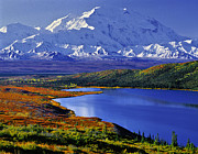 Alaska Lake Prints - Mount McKinley and Wonder Lake Campground in the Fall Print by Tim Rayburn