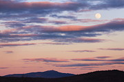 Monadnock Region Posters - Mount Monadnock Full Moon Sunset Poster by John Burk